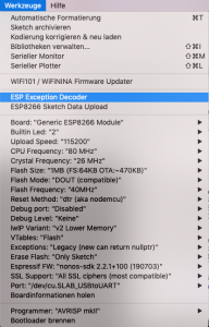Exception Decoder Menu